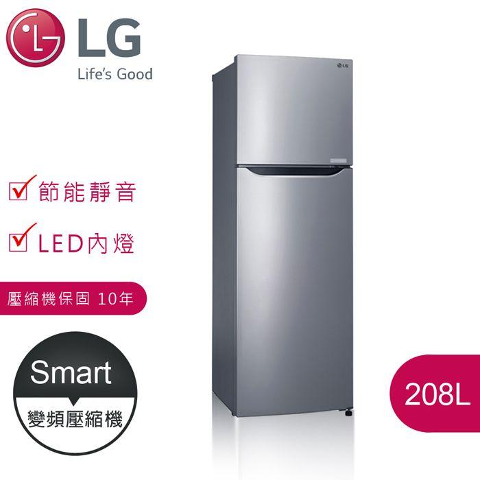好禮★2選1【LG樂金】Smart 208L 變頻上下門冰箱 / 精緻銀(GN-L295SV)