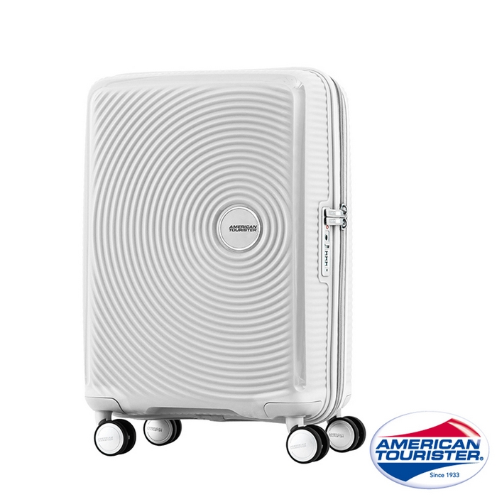 AT美國旅行者 20吋Curio立體唱盤刻紋硬殼TSA登機箱(白)