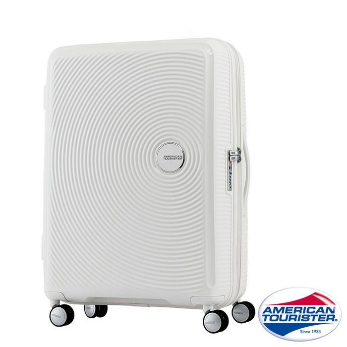 AT美國旅行者 25吋Curio立體唱盤刻紋硬殼可擴充TSA行李箱(白)