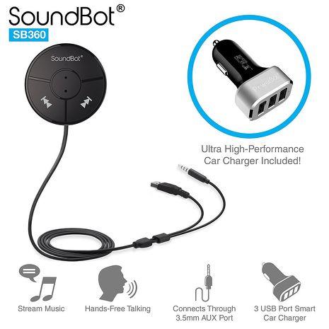 美國聲霸SoundBot SB360 車用藍牙4.0音樂接收播放,藍牙傳輸器 - 贈 5.1A 車用充電器