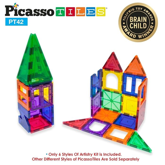 美國畢卡索Picasso Tiles PT42 3D立體益智磁性積木42片