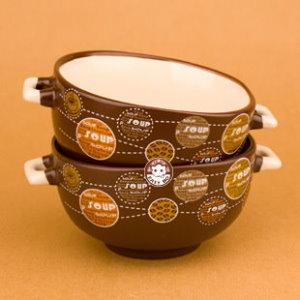 【易奇寶】進口餐具 義式創意童趣陶瓷米飯碗二入裝 圈圈咖