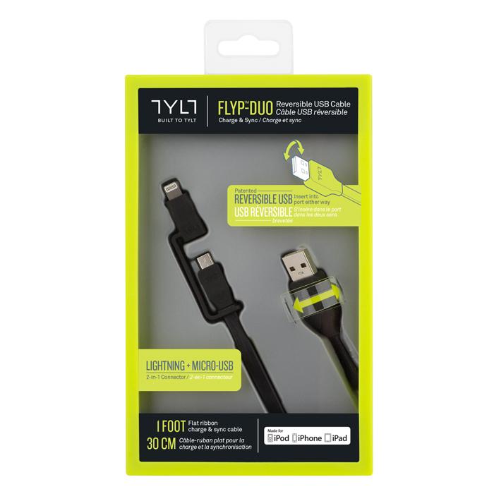 TYLT FLYP-DUO雙用傳輸線 30公分 (獨家專利 USB接頭正反通用+ Lightning & MICRO USB)綠