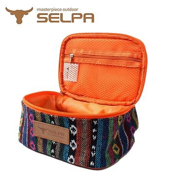 【韓國SELPA】民族風收納袋/化妝包/盥洗包 (鑽石條紋款)