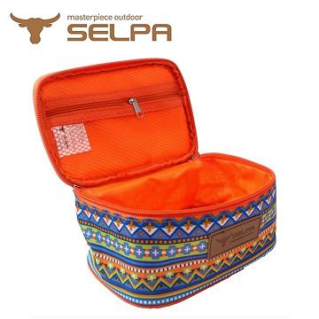 【韓國SELPA】民族風收納袋/化妝包/盥洗包 (水藍鑽石款)