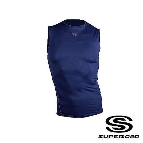 【SUPEROAD SPORTS】Muscle Point專業機能運動無袖緊身衣 (深藍色)