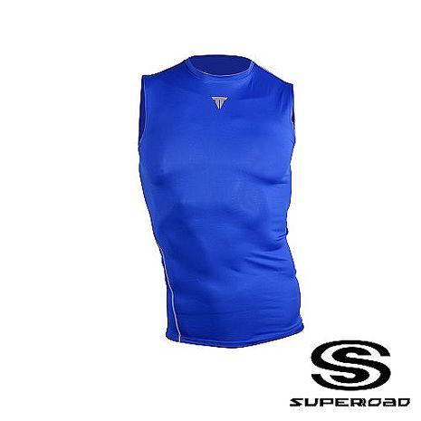 【SUPEROAD SPORTS】Muscle Point專業機能運動無袖緊身衣 (淺藍色)