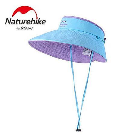 【Naturehike】繽紛撞色款雙面可戴空頂遮陽帽/防曬帽 (藍紫色)