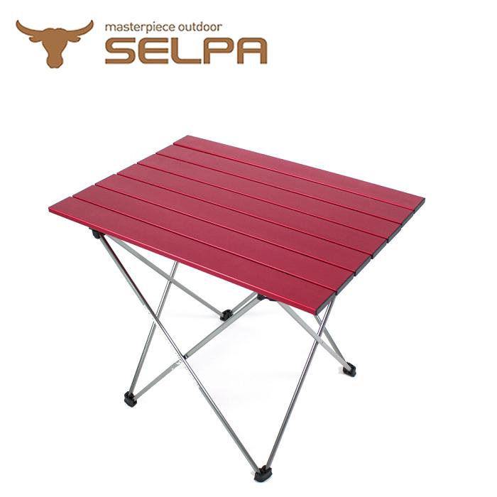 【韓國SELPA】超輕量鋁合金折疊桌/蛋捲桌(紅色 加大型)