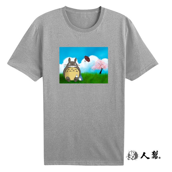 【男人幫大尺碼】櫻花樹下龍貓圓領純棉T恤(ZB066)男裝大尺碼 白色