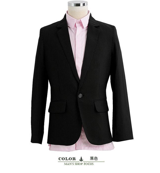 【男人幫】日系合身窄版極緻條紋單扣西裝外套(C5308)M
