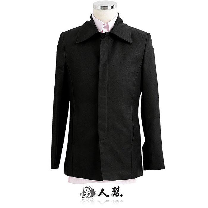 【男人幫】腰身版型頹廢風格休閒黑色素面排扣西裝外套(C5311)3L號