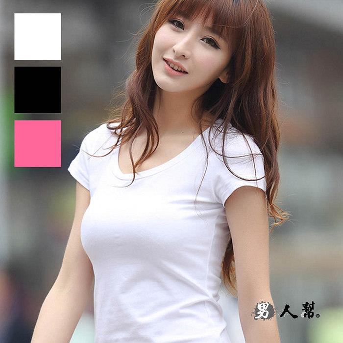 全素面百搭基本款基本單品女版合身短袖T恤萊卡彈性布料有腰身桃紅色M