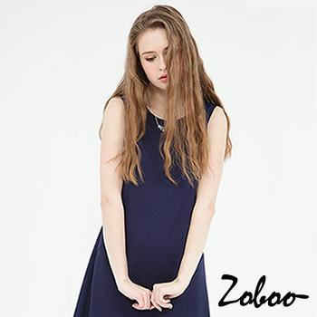 【Zoboo】OL,上班族必備小資小圓領無袖素面修身洋裝,小禮服,晚宴服,心機洋裝(Q5041)