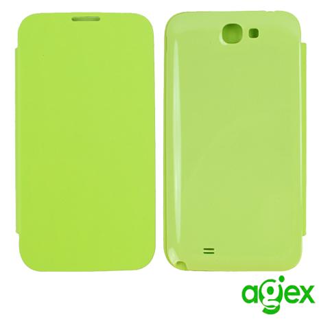 【AGEX】Samsung Galaxy Note2 專用電池背蓋側掀式皮套- 綠色N2BC-G-手機平板配件-myfone購物