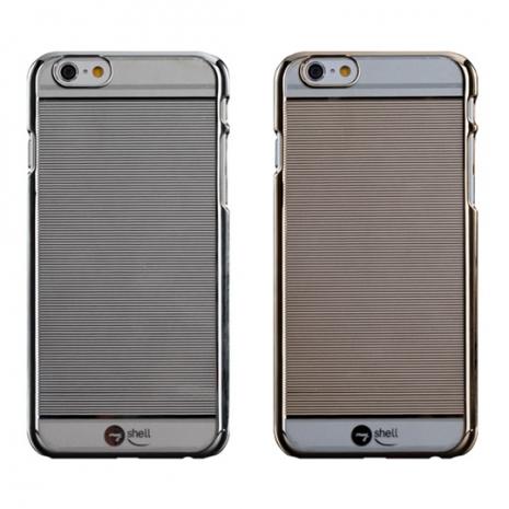 【Myshell】 Apple iPhone 6 Plus (5.5吋) 紳士條紋超薄電鍍硬質保護殼金屬銀