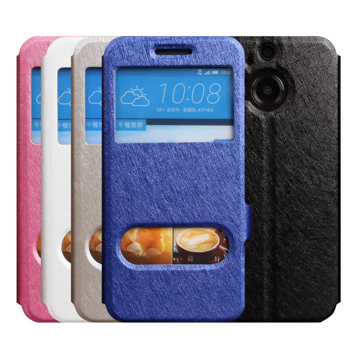 【Myshell】HTC One (M9+) 蠶絲紋來電顯示可立皮套白
