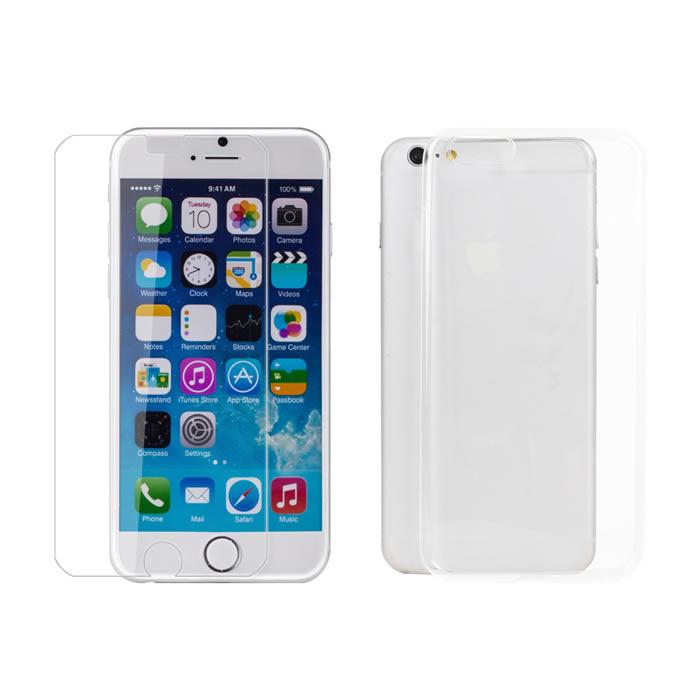 【Myshell】Apple iPhone6/6S Plus(5.5吋) 極致超薄保護殼+鋼化玻璃保護貼-2合1組