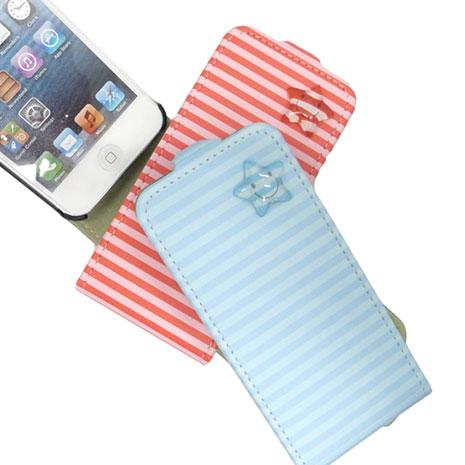 HAPPYMORI Apple iPhone 5 條紋星星 掀蓋式皮套 紅色