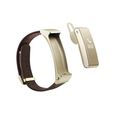 HUAWEI TalkBand B2 智慧手環 (皮革錶帶_商務版) 金色(贈防指紋保護貼)-手機平板配件-myfone購物