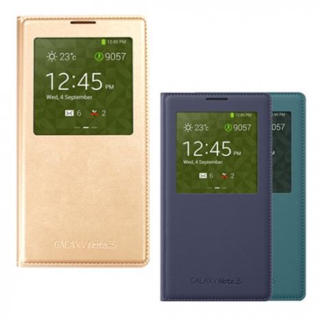 吊卡裝【三星原廠】Samsung Galaxy NOTE3 S-View 書本式皮套 國外限定色(贈保護貼)金色
