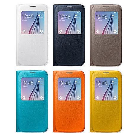 吊卡裝【三星原廠】Samsung Galaxy S6 S-View 原廠透視感應皮套(類皮革) 贈保護貼橘色