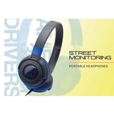 鐵三角ATH-S100 街頭DJ風可折疊式頭戴耳機黑藍