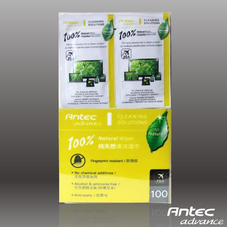 Antec 100天然螢幕清潔濕紙巾攜帶包100入
