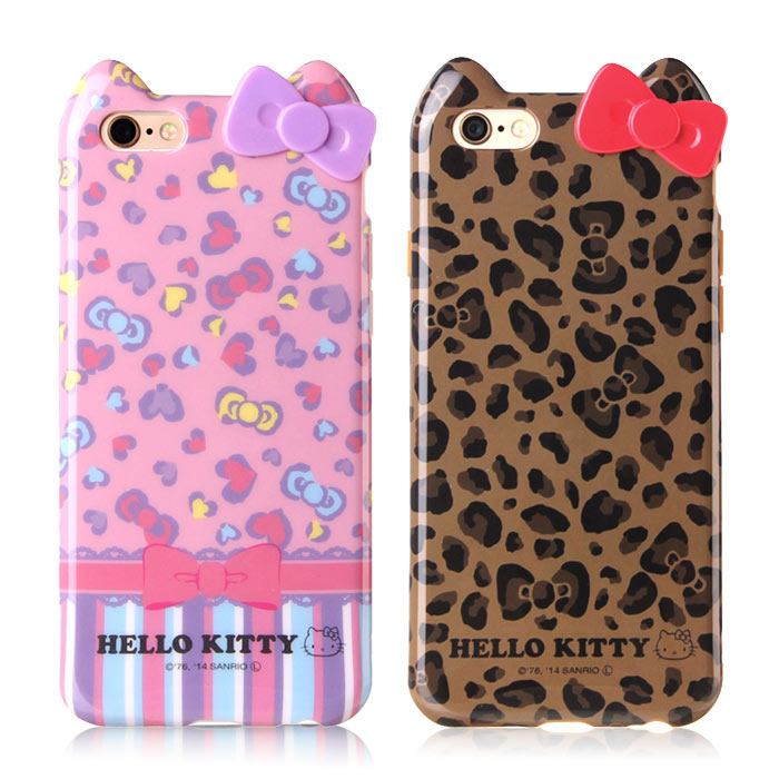 GD iPhone6/ 6s Kitty立體蝴蝶結保護套-豹紋款