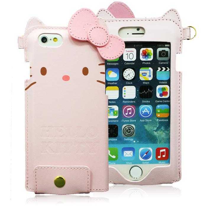 GD iPhone6/6s Kitty蝴蝶結皮革保護套-粉