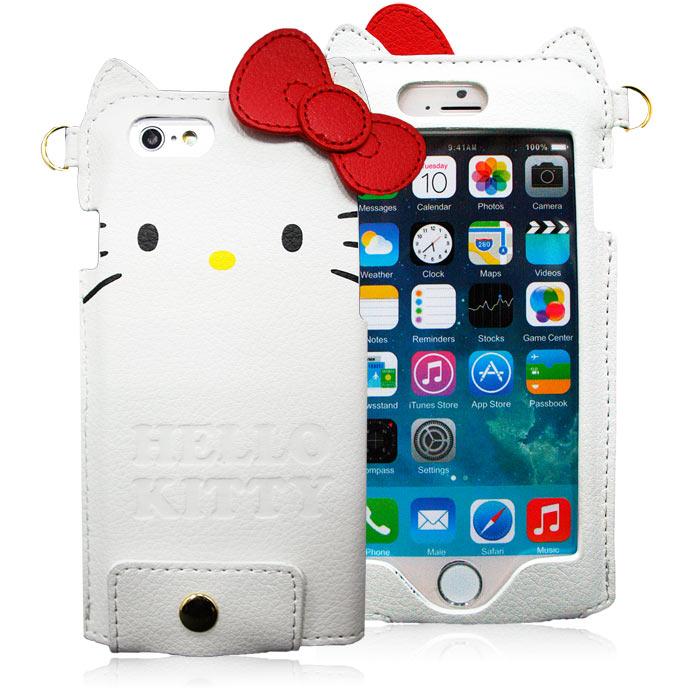 GD iPhone6/6s Kitty蝴蝶結皮革保護套-白