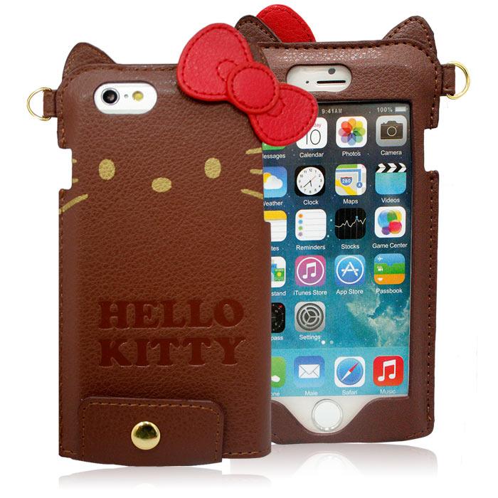GD iPhone6/6s Kitty蝴蝶結皮革保護套-咖啡