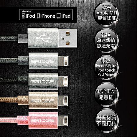 iBRIDGE APPLE認證 雙面插USB設計 鋁合金屬編織線金鑽銀