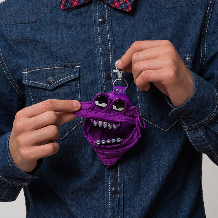 ZIPIT 怪獸拉鍊包鋼牙版(小)-壞壞紫