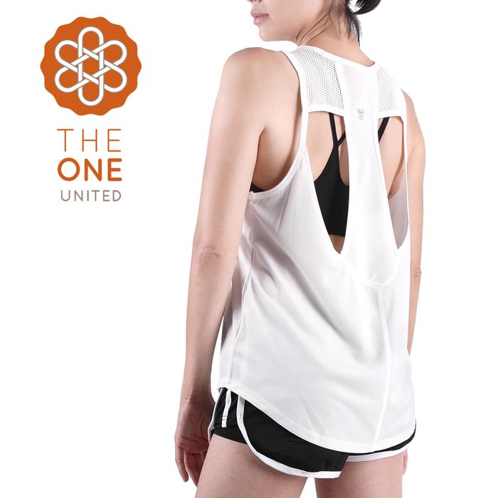 【The One】速乾排汗 美背鏤空透氣運動背心/罩衫(經典白)