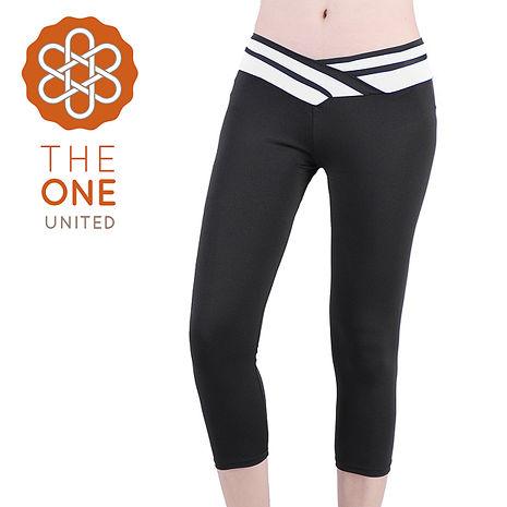 【The One】輕柔彈力造型拚色七分瑜珈褲/運動褲(白色)