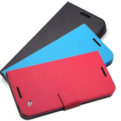 Redberry HTC Desire 816 甜漾簡約 立架式側掀皮套科技藍