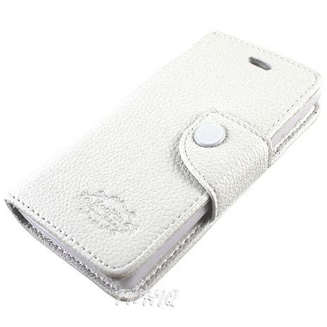 KooPin  HTC Desire U (微笑機)  雙料縫線 側掀(立架式)皮套 (科技白)-手機平板配件-myfone購物