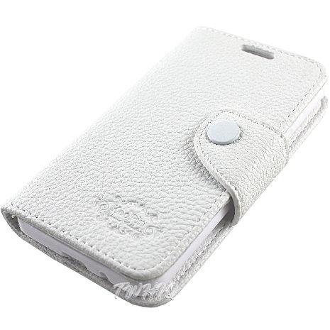 KooPin Samsung Galaxy i9105 S2 Plus 雙料縫線 側掀(立架式)皮套 (科技白)