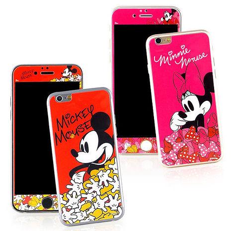 【Disney 】iPhone 6 /6s 強化玻璃彩繪保護貼-米奇米妮