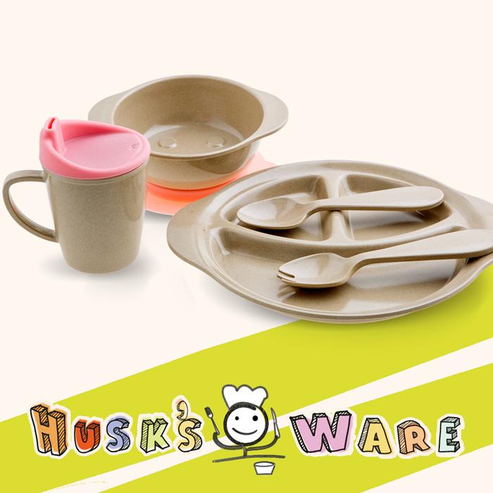 美國HusksWare【寶貝兒童】稻殼餐具組(五件組)-水蜜桃