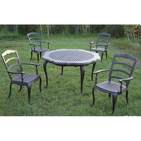 鋁合金4.6尺法蘭西圓桌椅組(一桌四椅)