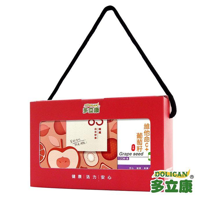 《多立康暢纖+C禮盒》63暢纖蔬果膠囊&維他命C+葡萄籽(2入組)