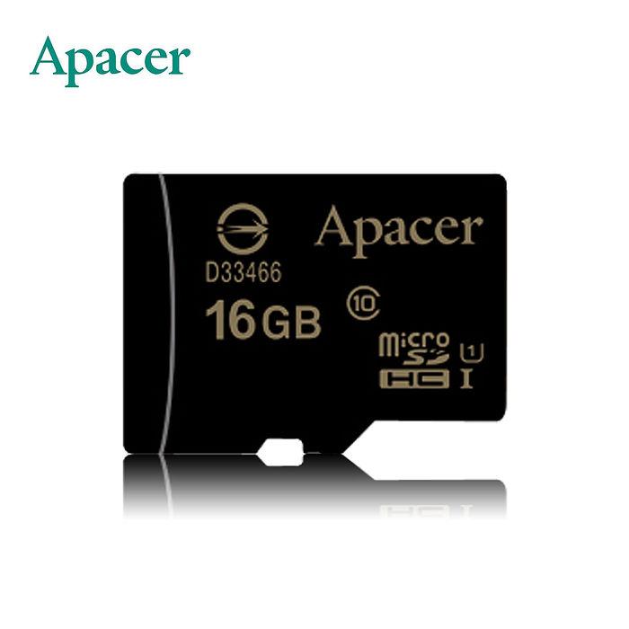 Apacer宇瞻 16GB MicroSDHC UHS-I Class10 記憶卡附轉卡
