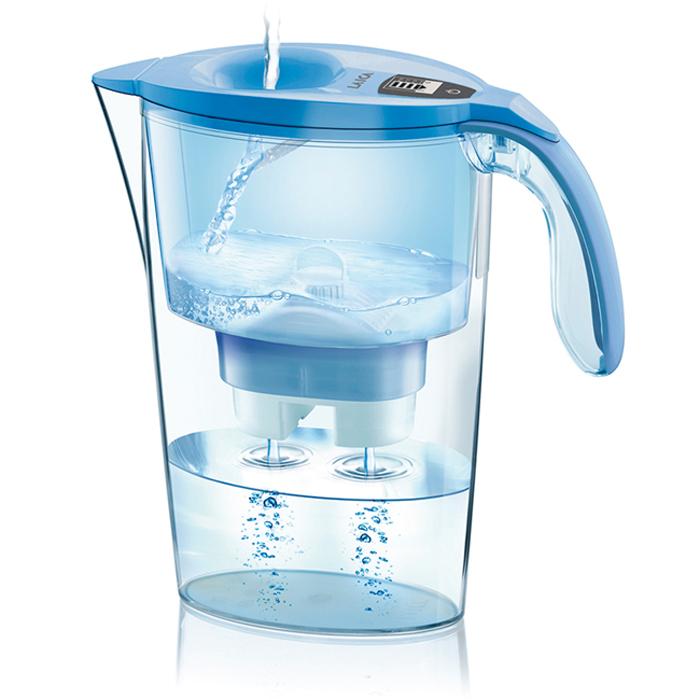 【義大利LAICA】免掀蓋雙流彩虹濾水壺-水湛藍(J434H)