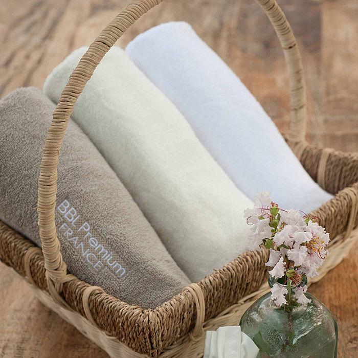 【BBL Premium】 100%棉. 刺繡 枕巾(象牙白)
