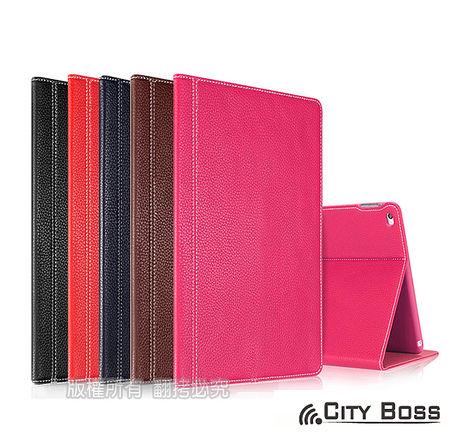 CITY BOSS 完美頭層真牛皮 iPad Air2 平板側掀保護皮套