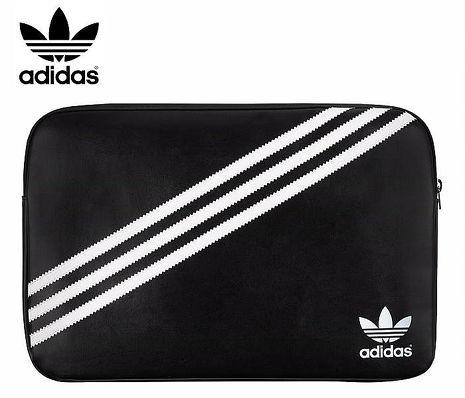 15吋以下通用 adidas 愛迪達 經典 斜紋 三葉草 平板/電腦包15吋-白底黑線
