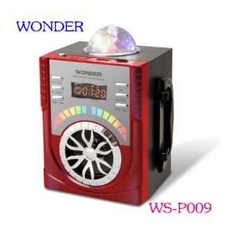 WONDER 旺德 USB/MP3/FM 舞台炫光隨身音響 WS-P009(紅色,藍色)