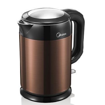 Midea 美的 1.7L 雙層防燙不繡鋼快煮壺 MK-H317E6B(深咖啡色) 英國serix溫控器.更耐用